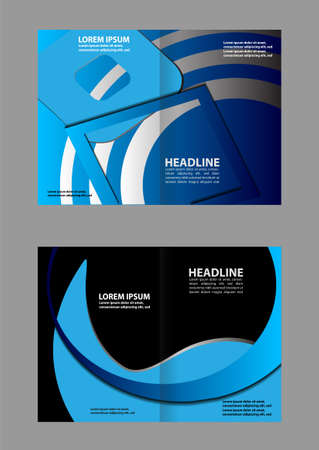 magazine stack: Empty bi-fold brochure template design with color, booklet