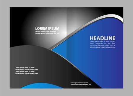 Bi-fold brochure template blue design, business leaflet, booklet