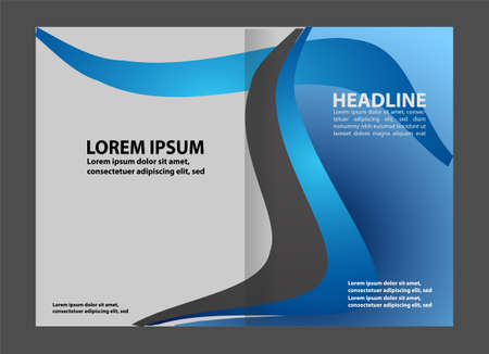 magazine stack: Empty bi-fold brochure template design with blue color, booklet