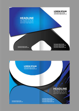 bifold: Vector modern bi-fold brochure design template with blue background Illustration