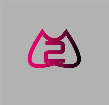 number 2: Number 2 logo. Vector logotype design.