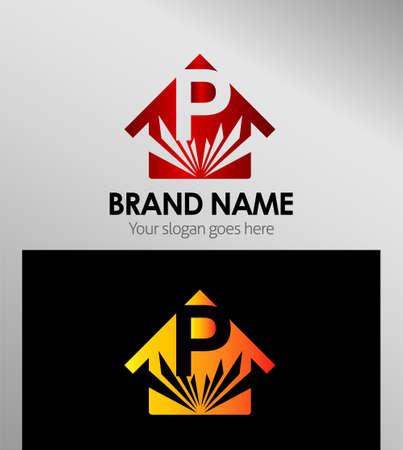 p buildings: House icons, logo P Letter