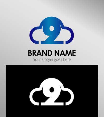 numero nueve: El n�mero nueve 9 S�mbolo icono de plantilla de logotipo