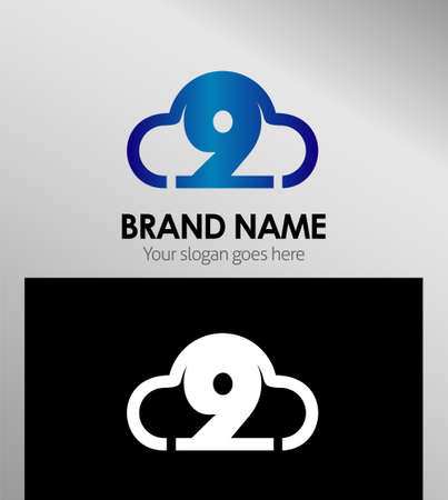 number nine: Number nine 9 Symbol logo template icon