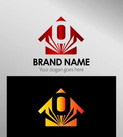 house logo: House icons, logo Letter O Illustration
