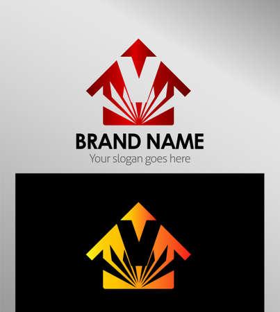 house logo: House icons, logo V Letter Illustration