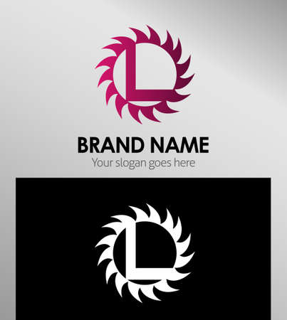 infinite shape: Creative Letter L icon. Sun logo concept Illustration