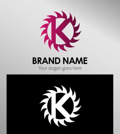 looped shape: Creative Letter K icon. Sun logo concept Illustration