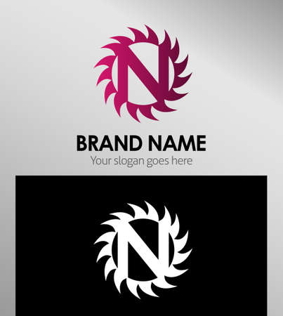 looped shape: Creative Letter N icon. Sun logo concept
