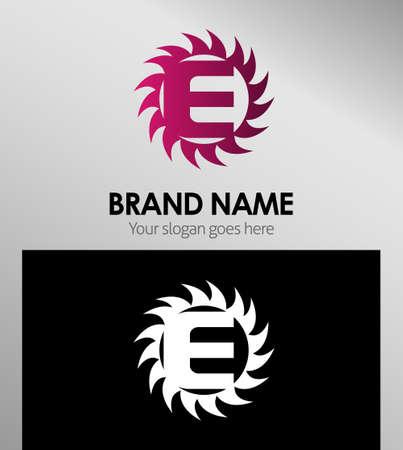 looped shape: Creative Letter E icon. Sun logo concept