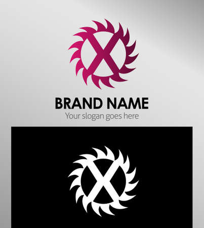 infinite shape: Creative Letter X icon. Sun logo concept