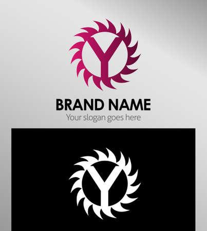 infinite shape: Creative Letter Y icon. Sun logo concept