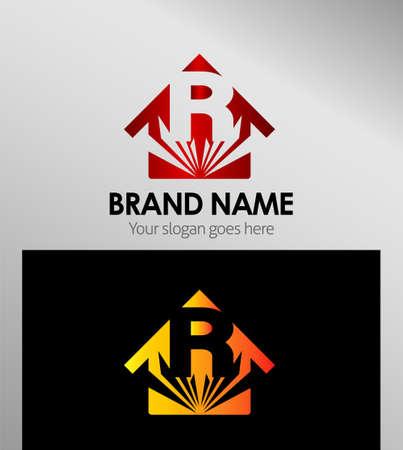 house logo: House icons, logo R Letter