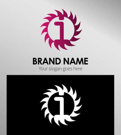 looped shape: Creative Letter i icon. Sun logo concept