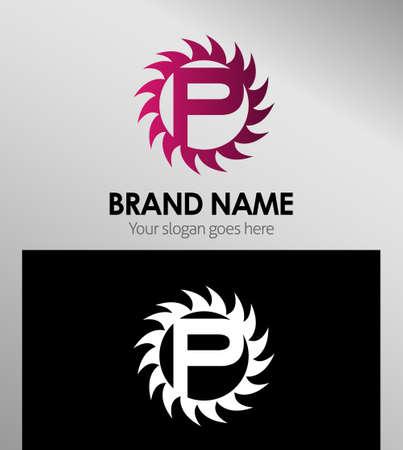 looped shape: Creative Letter P icon. Sun logo concept