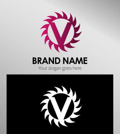 v cycle: Creative Letter V icon. Sun logo concept