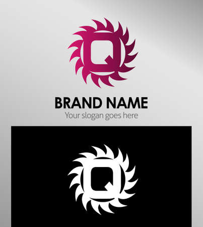 looped shape: Creative Letter Q icon. Sun logo concept