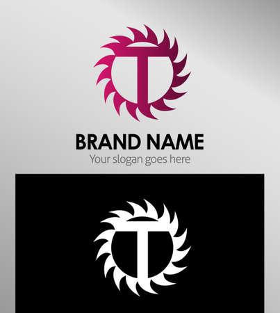 looped shape: Creative letter T icon. Sun logo concept