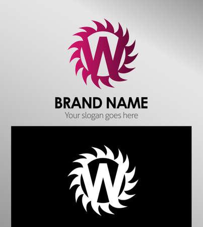 looped shape: Creative Letter W icon. Sun logo concept
