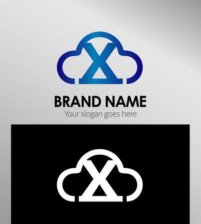 xy: Cloud stylish logo and X icons