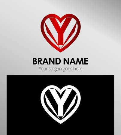 office romance: Letter y icon logo design template elements
