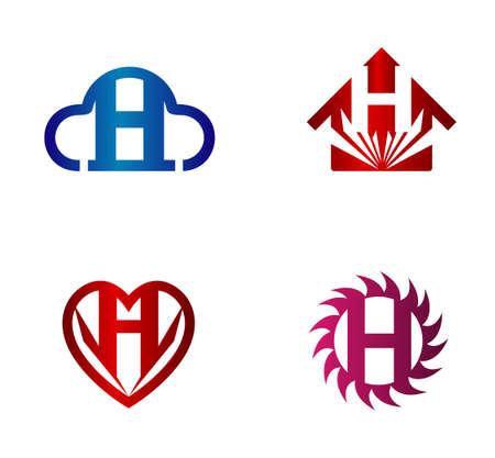 hillside: Vector design template. H letters icon set