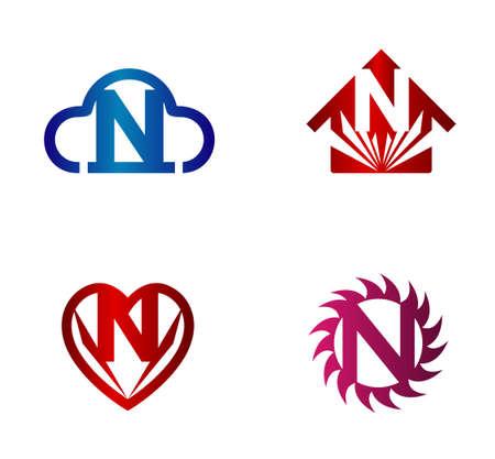 hillside: Vector logo design template. N letters icon set Illustration