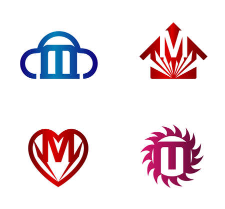 hillside: Vector design template. M letters icon set