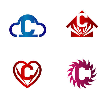 convergence: Design vector template. C letters icon set Illustration