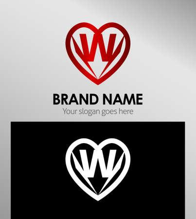 office romance: Letter W logo icon design template elements Illustration