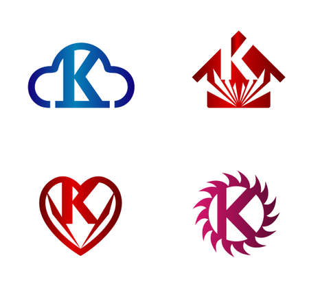 convergence: Design vector template. K letters icon set