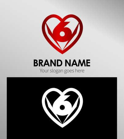 number 6: Vector sign spherical number 6 logo