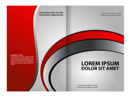 bifold: Vector empty bifold brochure print template design with red elements