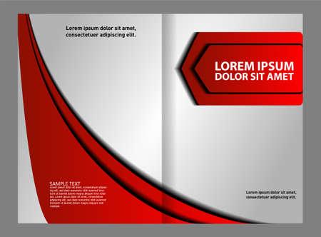 bifold: Vector modern bi-fold brochure design template with red background