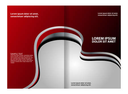 bifold: Bi-fold brochure template design with red color