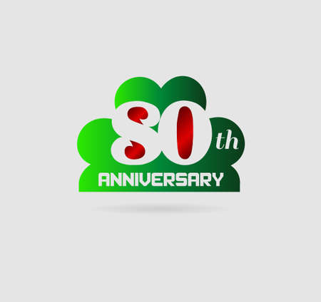 80th: 80 year birthday celebration, 80th anniversary Illustration
