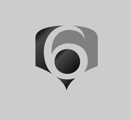number 6: Abstract Number 6 logo Symbol