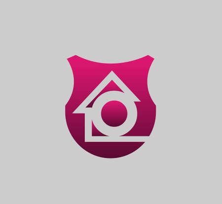 Letter O logo icon logo home with real estate Ilustração