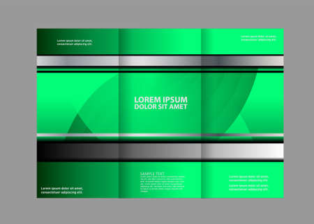 book spreads: Tri-fold brochure empty vector print design template, tri-fold booklet or flyer bright Illustration
