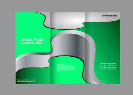 threefold: brochure design template abstract curves waves