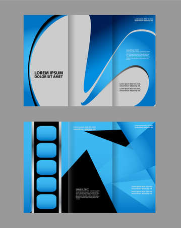 Trifold brochure template with blue design of polygons. Editable vector and light with places for photos. proportionally A4