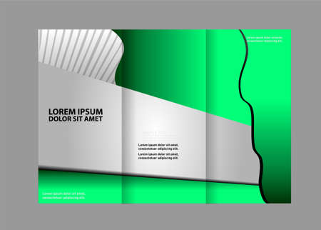 ambience: Trifold brochure template with design of polygons. Editable vector and light with places for photos. proportionally A4