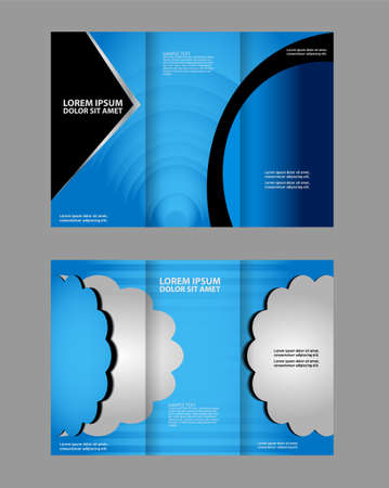book spreads: Vector brochure template design with blue elements. EPS 10