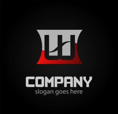Letter W logo. Isolated on black background. Vector illustration,