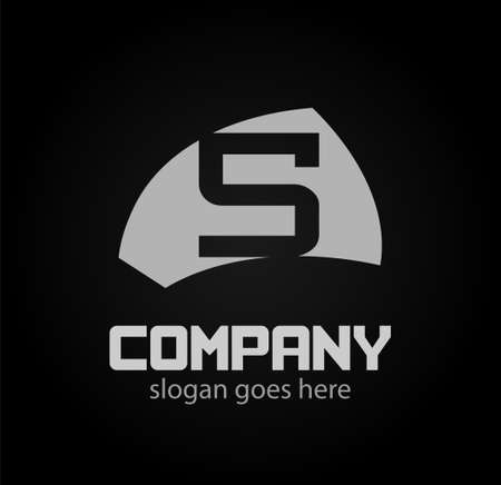 sch: Letter s logo. Isolated on black background. Vector illustration,