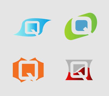 letter q: Set of alphabet symbols and elements of letter Q, Illustration