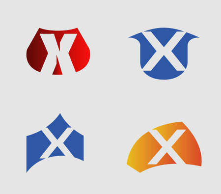 xy: Set of alphabet symbols and elements of letter X Illustration