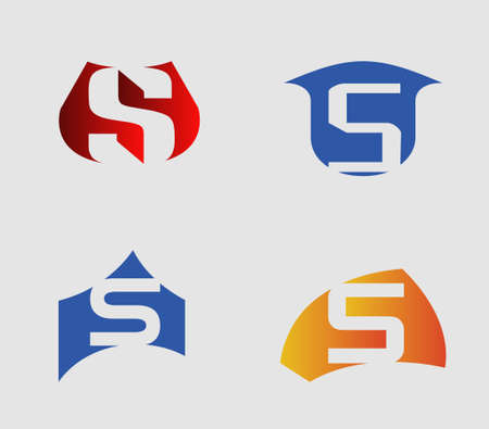 sch: Vector illustration of abstract icons based on the letter s
