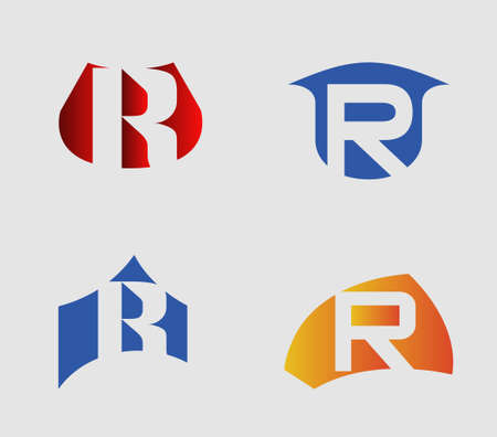 Set of alphabet symbols and elements of letter R Ilustrace