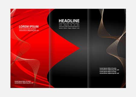 book spreads: Tri-fold brochure empty vector print design template, tri-fold booklet or flyer bright Illustration